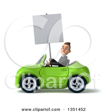 Clipart of a 3d Young White Businessman Holding a Blank Sign and Driving a Green Convertible Car to the Left - Royalty Free Illustration by Julos