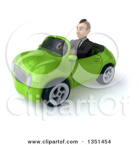 Clipart of a 3d Young White Businessman Driving a Green Convertible Car to the Left - Royalty Free Illustration by Julos