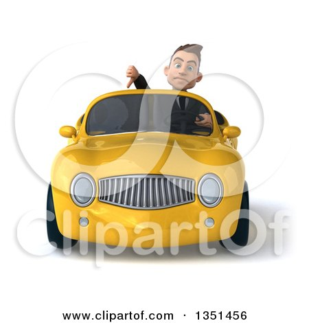Clipart of a 3d Young White Businessman Giving a Thumb down and Driving a Yellow Convertible Car - Royalty Free Illustration by Julos