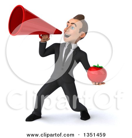 Clipart of a 3d Young White Businessman Holding a Tomato and Using a Megaphone - Royalty Free Illustration by Julos