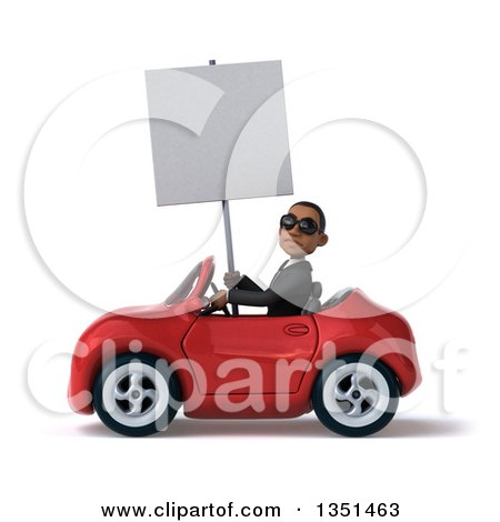 Clipart of a 3d Young Black Businessman Wearing Sunglasses, Holding a Blank Sign and Driving a Red Convertible Car to the Left - Royalty Free Illustration by Julos