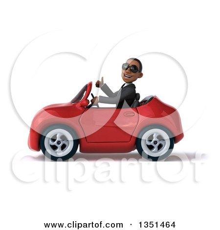 Clipart of a 3d Young Black Businessman Wearing Sunglasses, Giving a Thumb up and Driving a Red Convertible Car to the Left - Royalty Free Illustration by Julos