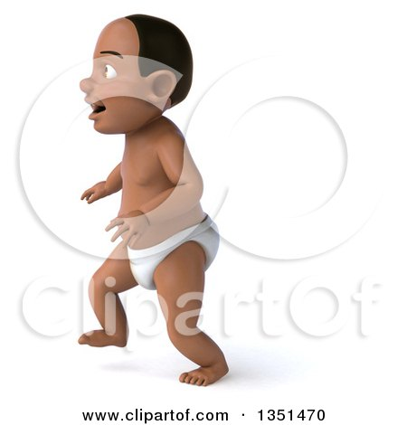 Clipart of a 3d Black Baby Boy Walking to the Left - Royalty Free Illustration by Julos
