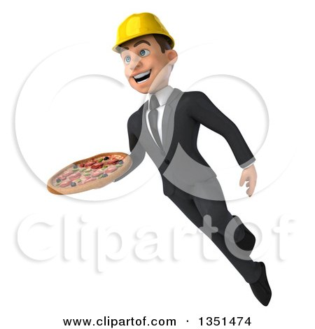 Clipart of a 3d Young White Male Architect Holding a Pizza and Flying - Royalty Free Illustration by Julos
