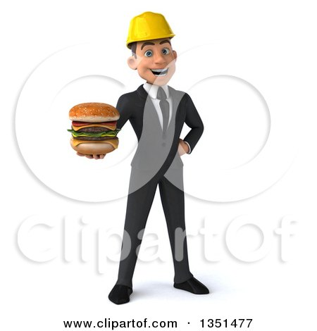 Clipart of a 3d Young White Male Architect Holding a Double Cheeseburger - Royalty Free Illustration by Julos