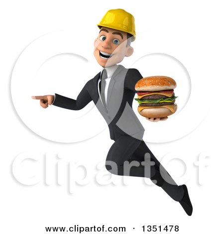 Clipart of a 3d Young White Male Architect Holding a Double Cheeseburger, Flying and Pointing - Royalty Free Illustration by Julos