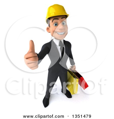 Clipart of a 3d Young White Male Architect Carrying Shopping Bags and Holding up a Thumb - Royalty Free Illustration by Julos