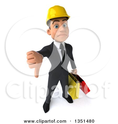 Clipart of a 3d Young White Male Architect Carrying Shopping Bags and Holding up a Thumb down - Royalty Free Illustration by Julos
