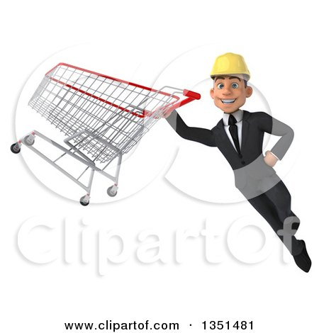 Clipart of a 3d Young White Male Architect Flying with a Shopping Cart - Royalty Free Illustration by Julos