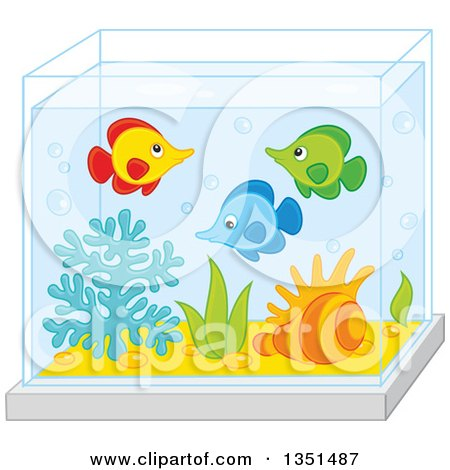 Clipart Of A Rear View Of Families Watching Fish At An