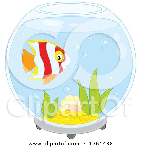 Clipart of a Cute Striped Marine Fish in a Bowl Aquarium - Royalty Free Vector Illustration by Alex Bannykh