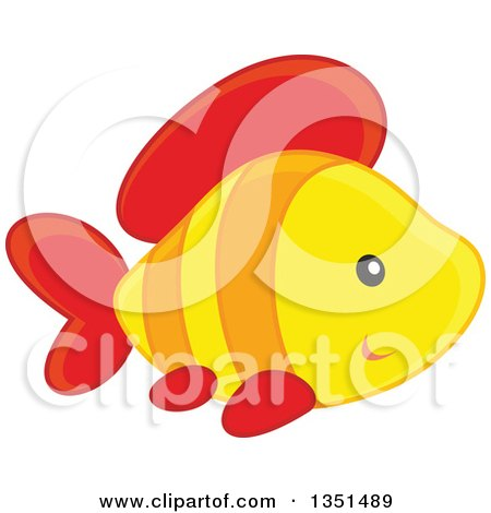 Clipart of a Cute Yellow Orange and Red Fish - Royalty Free Vector Illustration by Alex Bannykh