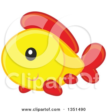 Clipart of a Cute Happy Yellow Orange and Red Fish - Royalty Free Vector Illustration by Alex Bannykh