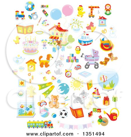 Clipart of Cute Animals, Toys and Other Items - Royalty Free Vector Illustration by Alex Bannykh