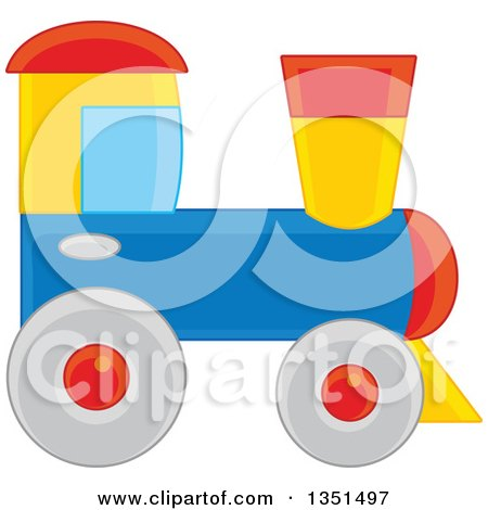 Clipart of a Toy Train - Royalty Free Vector Illustration by Alex Bannykh