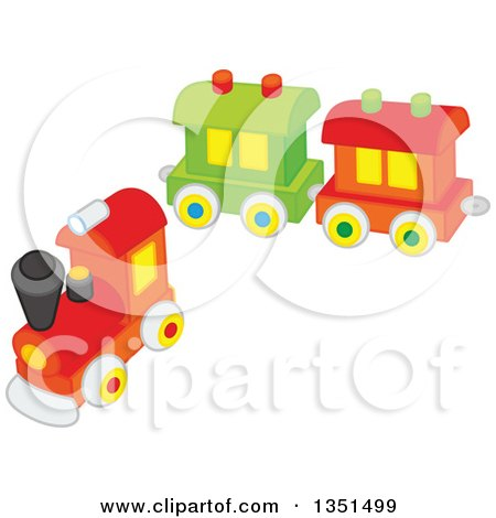Clipart of a Connectable Toy Train - Royalty Free Vector Illustration by Alex Bannykh