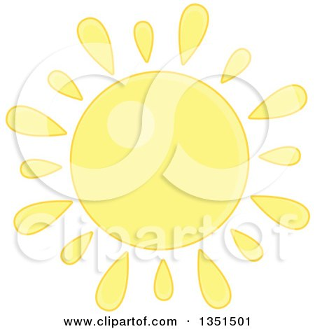 Clipart Of A Pastel Yellow Shining Sun Royalty Free Vector Illustration