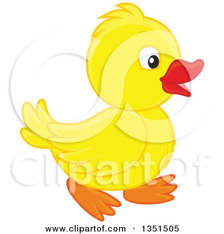 Clipart of a Cute Yellow Duckling Walking - Royalty Free Vector Illustration by Alex Bannykh