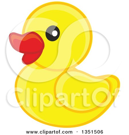 Clipart of a Cute Yellow Duckling or Rubber Ducky - Royalty Free Vector Illustration by Alex Bannykh