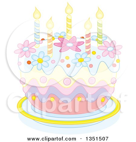 Clipart of a Pastel Birthday Cake with Candles and Flowers - Royalty Free Vector Illustration by Alex Bannykh