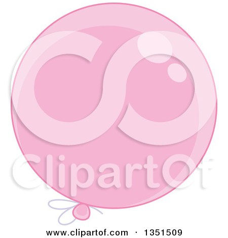 Clipart of a Shiny Pink Party Balloon - Royalty Free Vector Illustration by Alex Bannykh