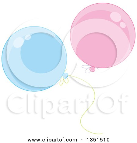 Clipart of Shiny Pink and Blue Party Balloons - Royalty Free Vector Illustration by Alex Bannykh