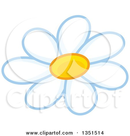 Clipart of a White Daisy Flower - Royalty Free Vector Illustration by Alex Bannykh