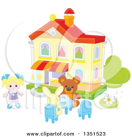 Clipart of a Doll, Teddy Bear and Rabbit Having a Tea Party at a Toy House - Royalty Free Vector Illustration by Alex Bannykh