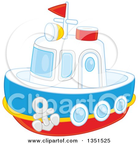 Clipart of a Toy Boat - Royalty Free Vector Illustration by Alex Bannykh
