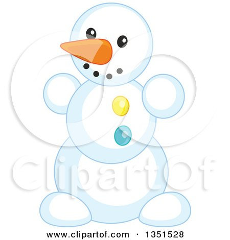 Clipart of a Carrot Nosed Snowman - Royalty Free Vector Illustration by Alex Bannykh