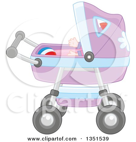Clipart of a Baby and Ball in a Carriage - Royalty Free Vector Illustration by Alex Bannykh