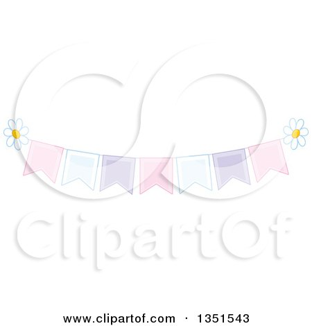 Clipart of a Pastel Bunting Banner with Daisy Flowers - Royalty Free Vector Illustration by Alex Bannykh
