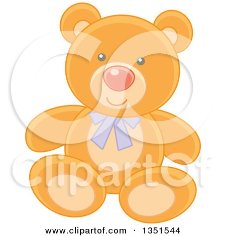 Clipart of a Cute Teddy Bear Wearing a Purple Bow - Royalty Free Vector Illustration by Alex Bannykh
