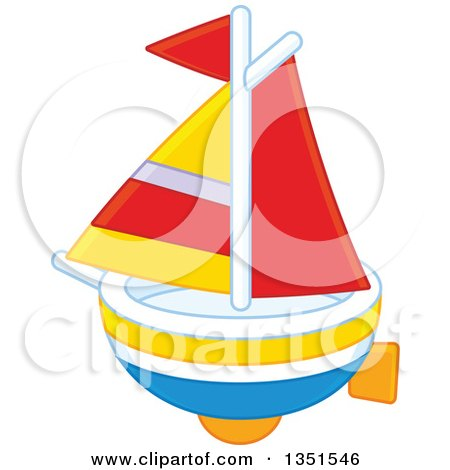Clipart of a Toy Sailboat - Royalty Free Vector Illustration by Alex Bannykh