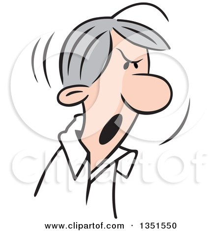 Clipart of a Cartoon Angry Gray Haired Caucasian Man Shouting - Royalty Free Vector Illustration by Johnny Sajem