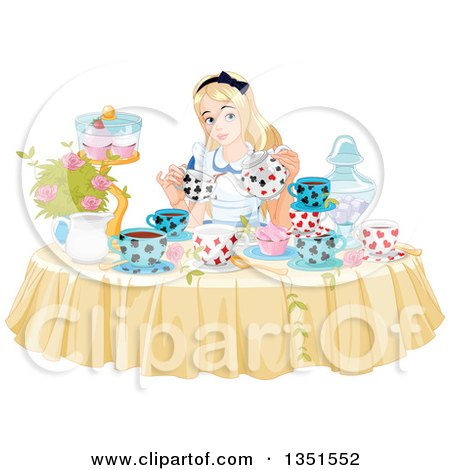 Alice Pouring Tea at a Table with Cupcakes and Flowers Posters, Art Prints