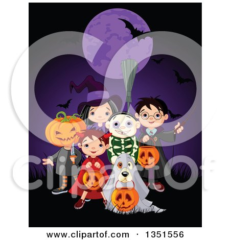 Clipart of a Group of Kids in Jack, Witch, Wizard, Skeleton and Devil Costumes and a Dog As a Ghost, Trick or Treating on Halloween Under a Purple Full Moon with a Bat - Royalty Free Vector Illustration by Pushkin