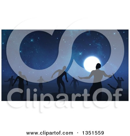 Clipart of a Background of 3d Silhouetted Zombies Wandering Under a Full Moon and Starry Sky - Royalty Free Illustration by KJ Pargeter