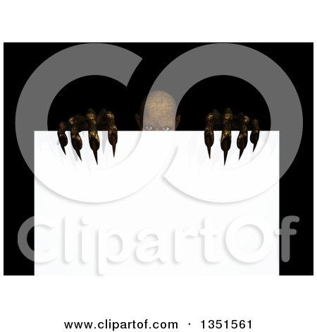 Clipart of a 3d Demon or Zombie Peeking over a Blank Sign - Royalty Free Illustration by KJ Pargeter
