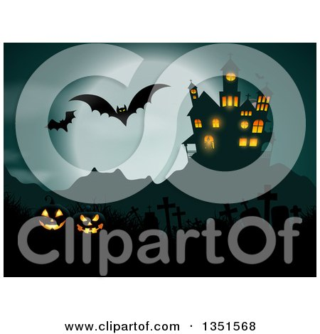 Clipart of a Haunted Hause with Glowing Halloween Jackolantern Pumpkins, a Cemetery, Flying Bats and a Full Moon - Royalty Free Vector Illustration by KJ Pargeter