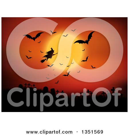 Clipart of a Silhouetted Halloween Witch Flying on a Broomstick Against an Orange Full Moon Sky with Vampire Bats over a Cemetery - Royalty Free Vector Illustration by KJ Pargeter