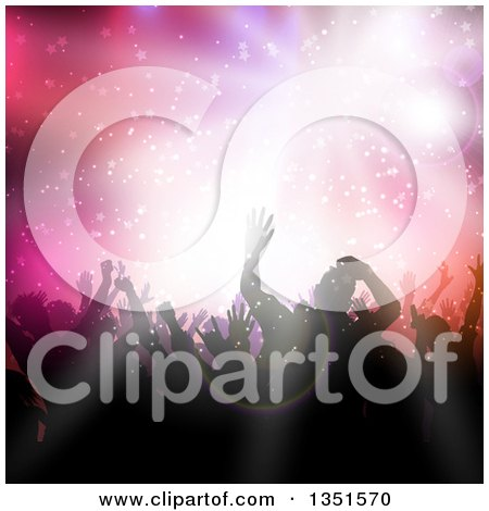 Clipart of a Silhouetted Crowd of Dancers over a Light Burst, Stars and Flares - Royalty Free Vector Illustration by KJ Pargeter