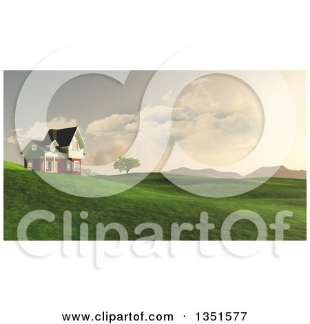 Clipart of a 3d Rural House on Green Hills with a View of Mountains - Royalty Free Illustration by KJ Pargeter
