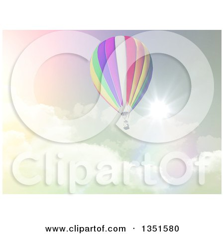 Clipart of a 3d Hot Air Balloon Against a Cloudy Sky and Sunburst in Retro Tones - Royalty Free Illustration by KJ Pargeter