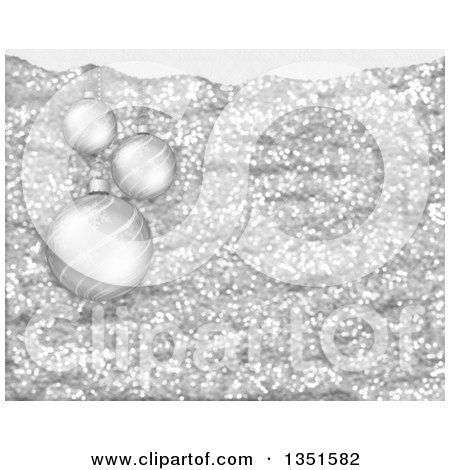 Clipart of a Christmas Background of 3d Snowflake Baubles over Silver Glitter - Royalty Free Illustration by KJ Pargeter