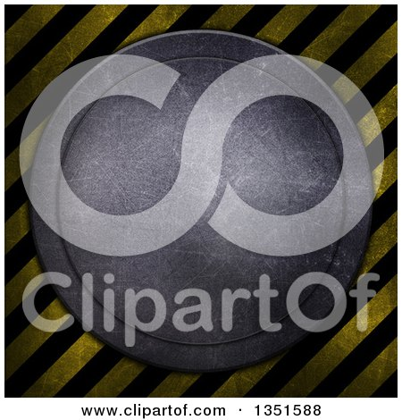 Clipart of a Round Metal Disk with Scratches over Diagonal Hazard Stripes - Royalty Free Illustration by KJ Pargeter