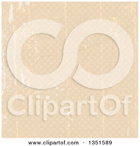 Clipart of a Grungy Scratched Beige Background Pattern of Diamonds - Royalty Free Vector Illustration by KJ Pargeter