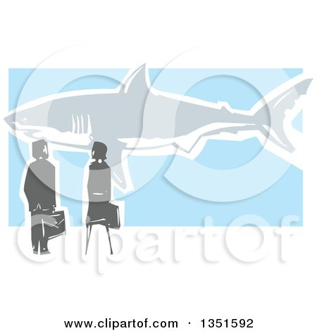 Clipart of a Rear View of a Woodcut Business Man and Woman Watching a Great White Shark - Royalty Free Vector Illustration by xunantunich