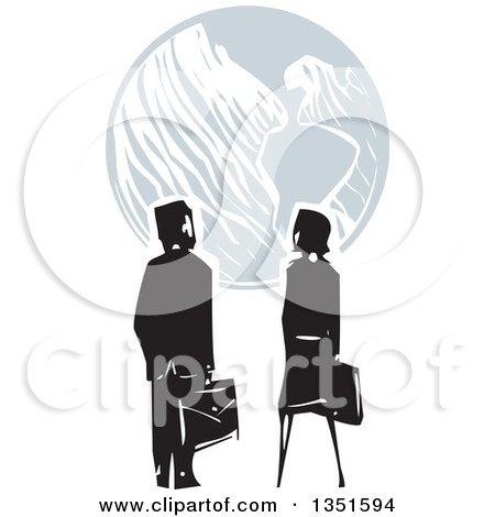 Clipart of a Rear View of a Woodcut Business Man and Woman Looking at Earth - Royalty Free Vector Illustration by xunantunich