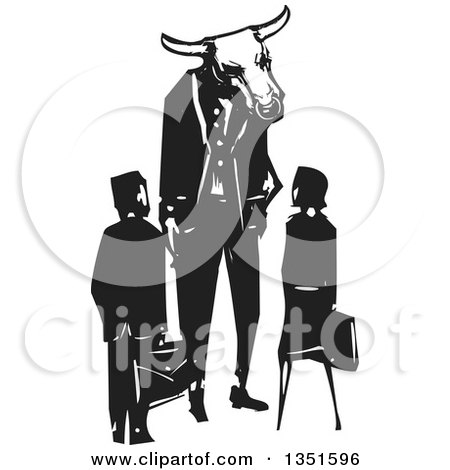 Clipart of a Rear View of a Black and White Woodcut Business Man and Woman and a Bull Minotaur Boss - Royalty Free Vector Illustration by xunantunich